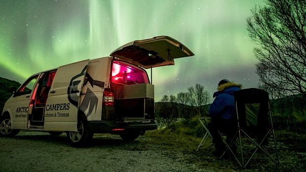 Aurora chasing in a camper van in Norway